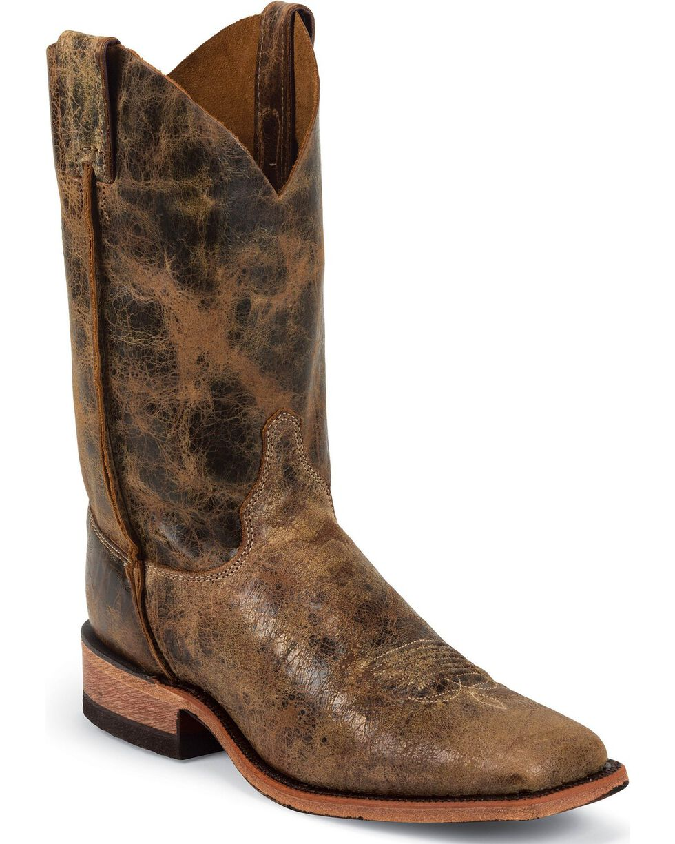 Justin Men's Distressed Road Square Toe Western Boots, Tan, hi-res