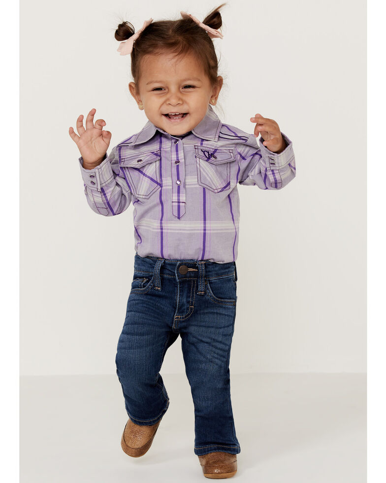Cowgirl Hardware Infant Girls' Purple Plaid Embroidered Horse Long Sleeve Onesie , Purple, hi-res