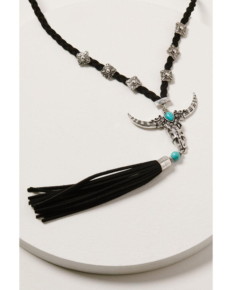Shyanne Women's Wild Soul Longhorn Tassel Necklace, Silver, hi-res