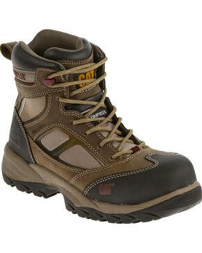 "CAT Women's Shaman 6"" Waterproof Composite Toe Work Boots, Taupe, hi-res"