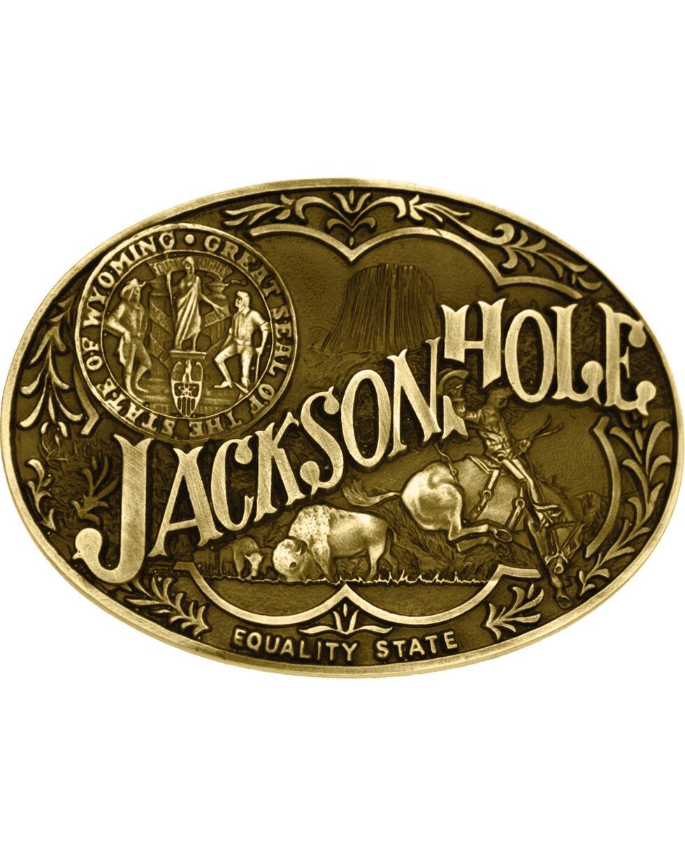 Montana Silversmiths Jackson Hole Wyoming State Heritage Attitude Belt Buckle, Gold, hi-res