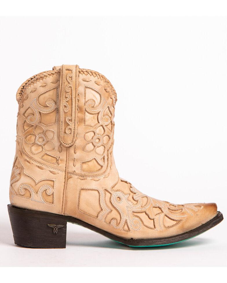 Lane Women's Robin Inlay Cowgirl Booties - Snip Toe, Natural, hi-res