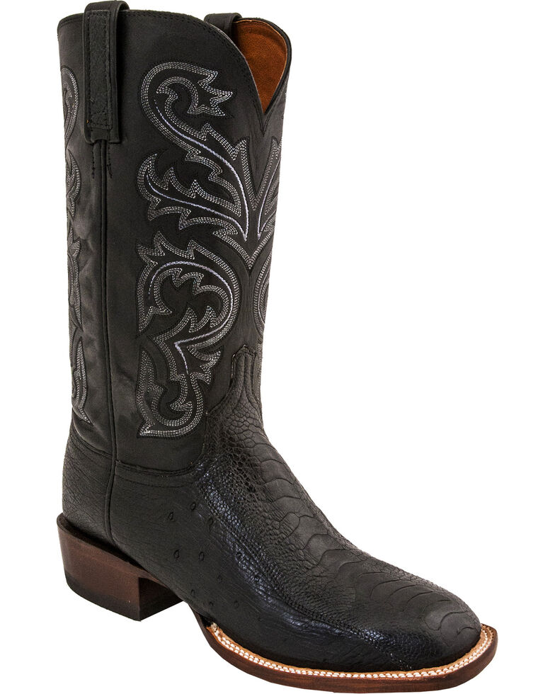 Lucchese Men's Handmade Stewart Black Ostrich Leg Crepe Sole Horseman Boots - Square Toe, Black, hi-res