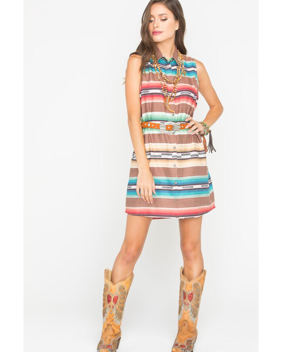 Tasha Polizzi Women's Falling Waters Cowgirl Shirt Dress, Brown, hi-res