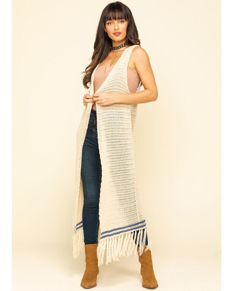 Stetson Women's Crochet Sweater Vest, White, hi-res