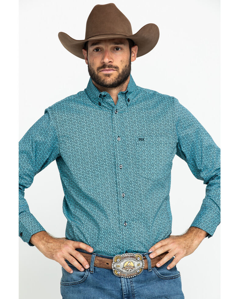 Wrangler 20X Men's Competition Blue Geo Print Long Sleeve Western Shirt , Blue, hi-res
