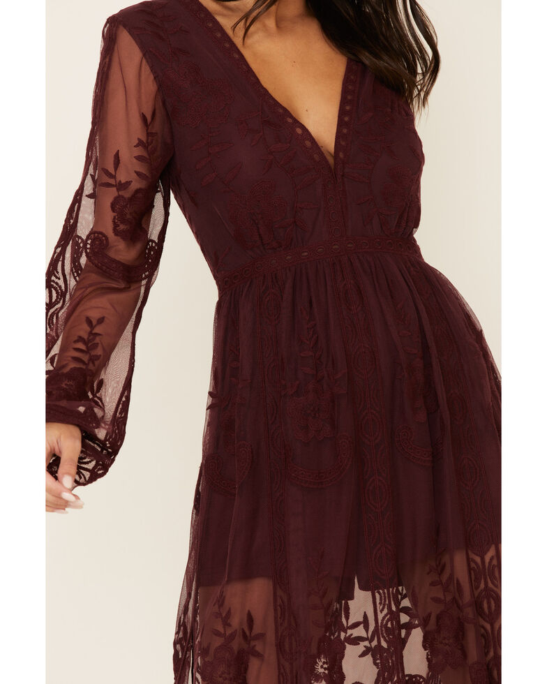 Wishlist Women's Black Lace Maxi Dress, Burgundy, hi-res