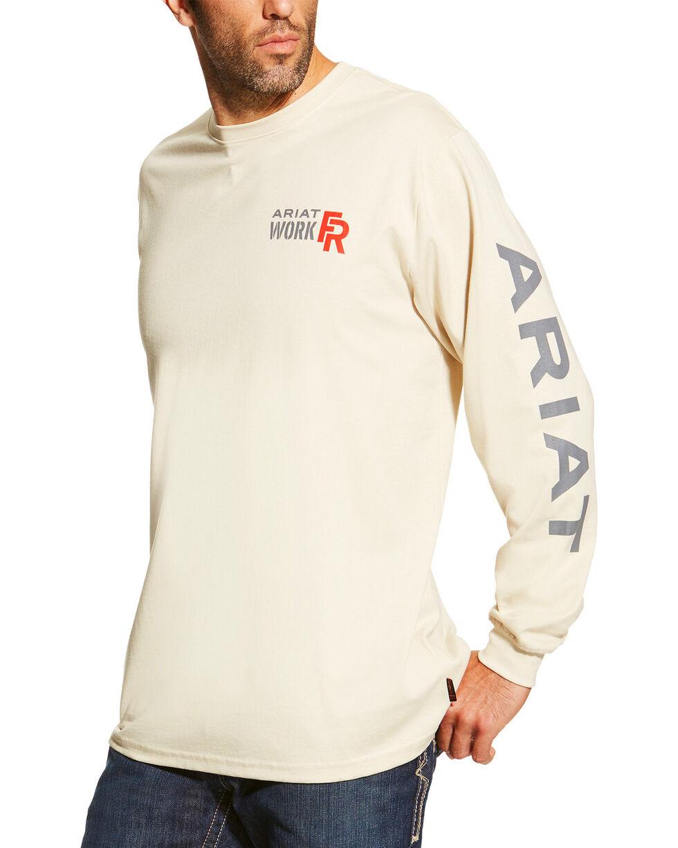 Ariat Men's Sand FR Logo Crew Neck Long Sleeve Shirt - Tall, Sand, hi-res