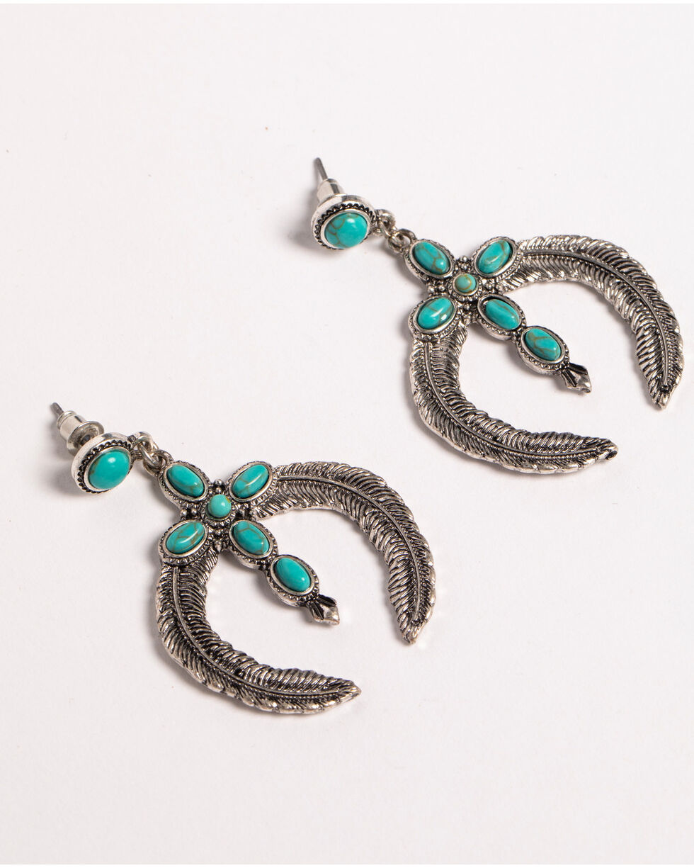 Shyanne Women's Turquoise Cross Squash Blossom Earrings, Silver, hi-res