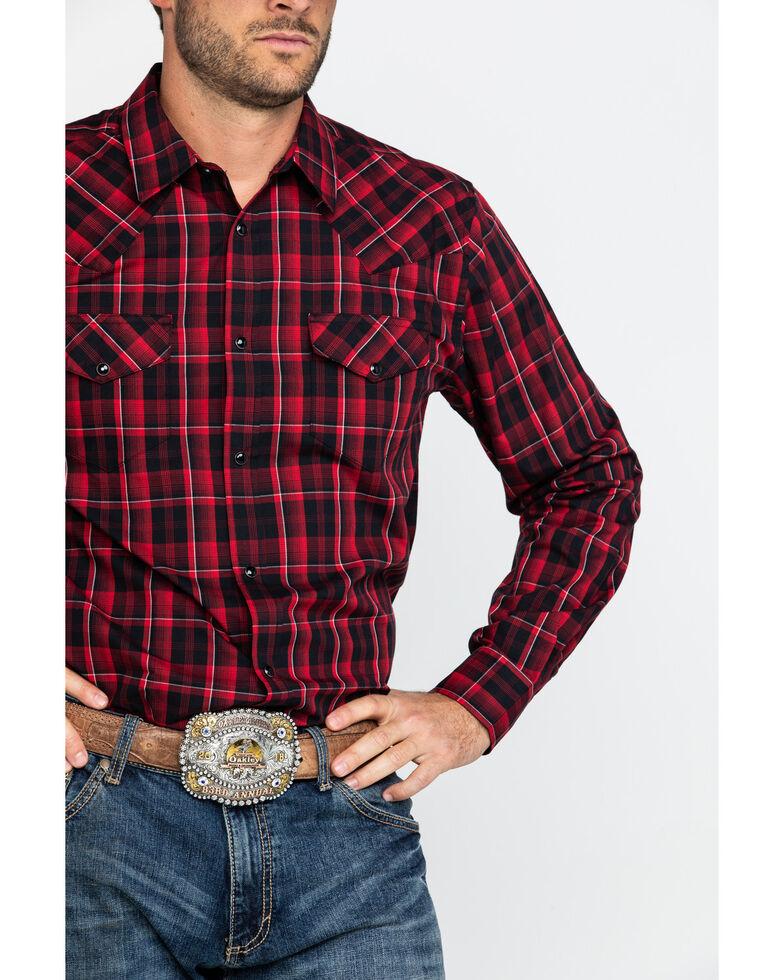 Gibson Men's Redlands Med Plaid Long Sleeve Western Shirt , Black, hi-res