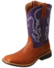 Twisted X Girls' Tan & Purple Top Hand Western Boots - Narrow Square Toe, Tan, hi-res