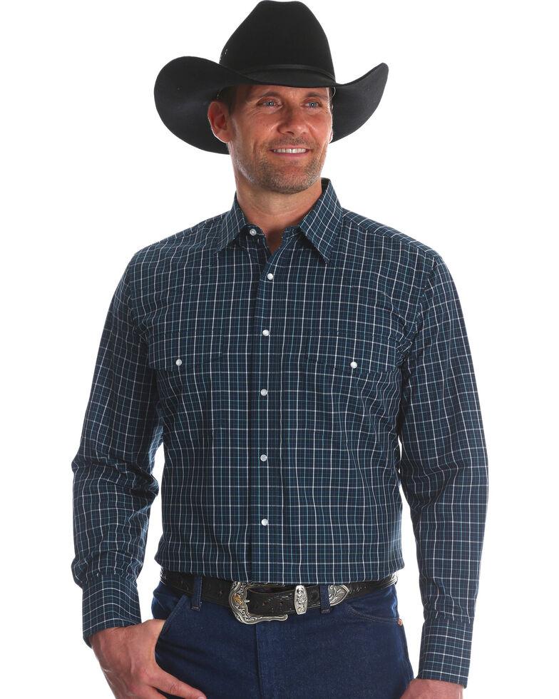 Wrangler Men's Navy Wrinkle Resistant Western Shirt , Navy, hi-res