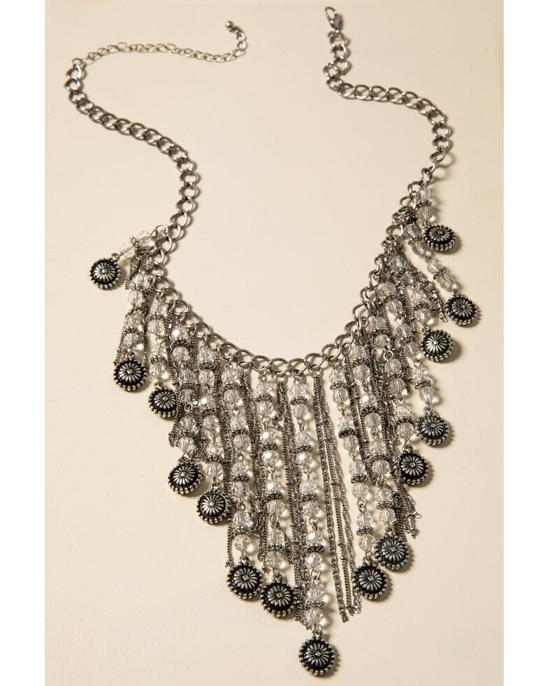 Shyanne Women's Sparkle N' Spice Fringe Statement Bib Necklace, Silver, hi-res
