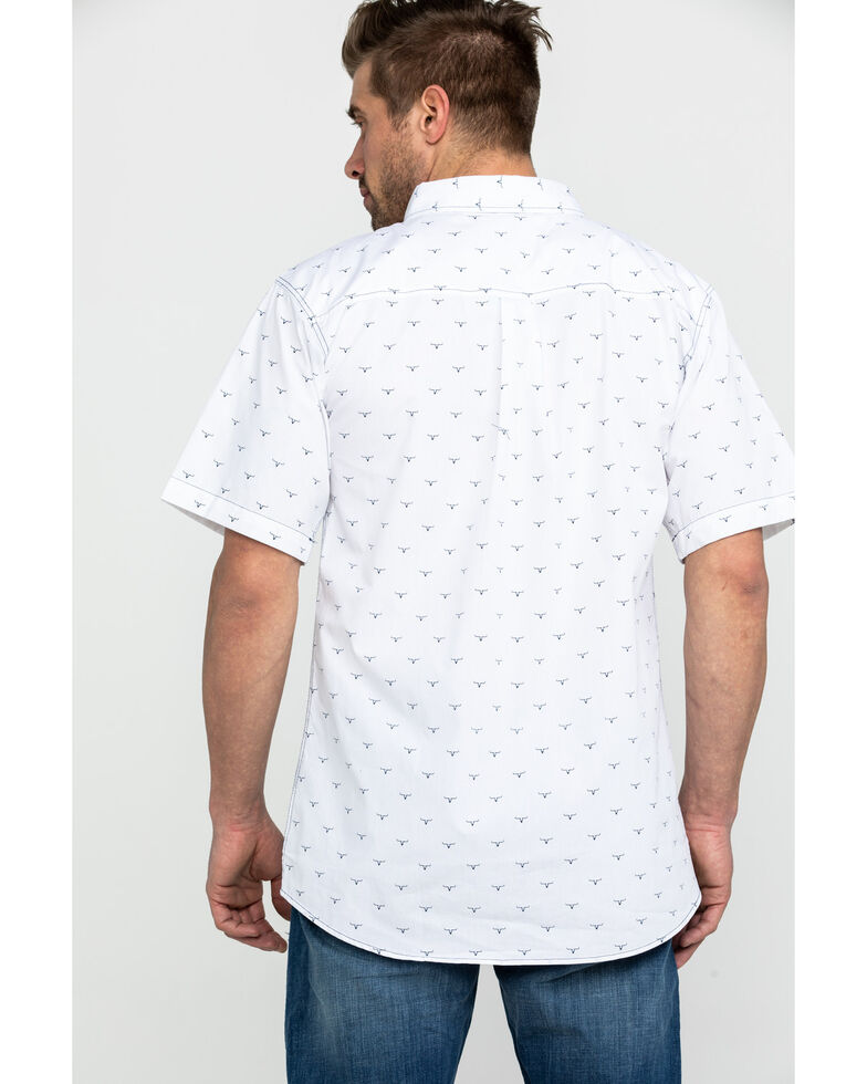 Cowboy Hardware Men's All Over Ghost Steer Print Short Sleeve Western Shirt, White, hi-res