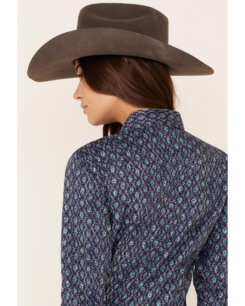 Panhandle Women's Navy Diamond Print Long Sleeve Western Shirt , Navy, hi-res