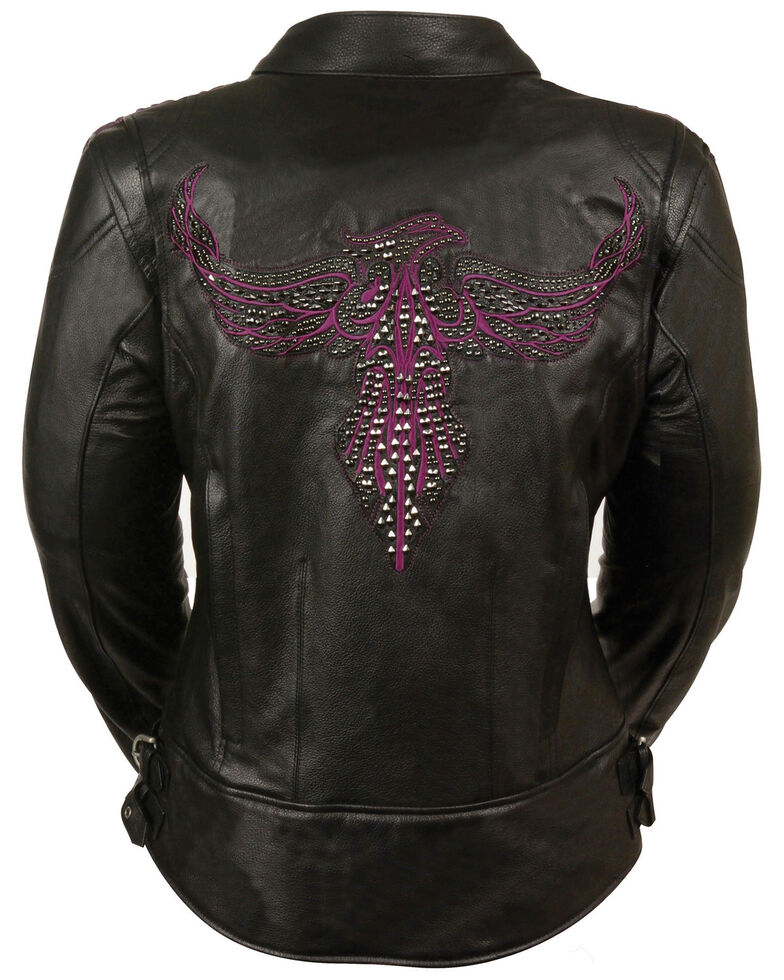 Milwaukee Leather Women's Black Conceal Carry Embroidered Phoenix Leather Jacket , Black/purple, hi-res
