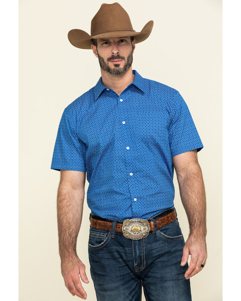 Gibson Men's Combover Geo Print Short Sleeve Western Shirt , Royal Blue, hi-res