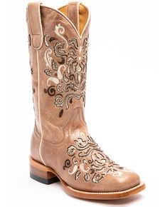 Shyanne Women's Tan Verbena Western Boots - Square Toe, Tan, hi-res