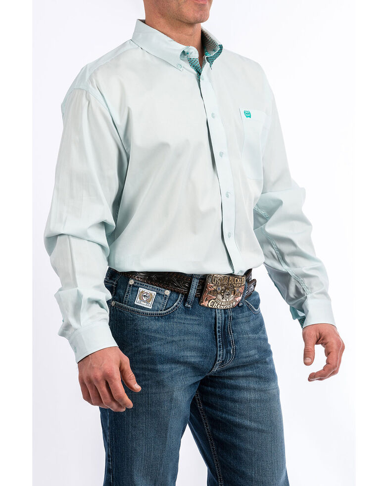 Cinch Men's Light Blue Solid Long Sleeve Western Shirt , Light Blue, hi-res