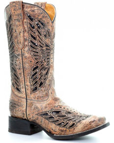 Corral Youth Girls' Tan Butterfly Inlay Boots - Square Toe , Tan, hi-res