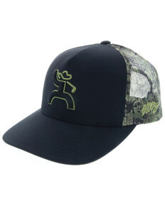HOOey Men's Camo Golf Trucker Cap, Black, hi-res