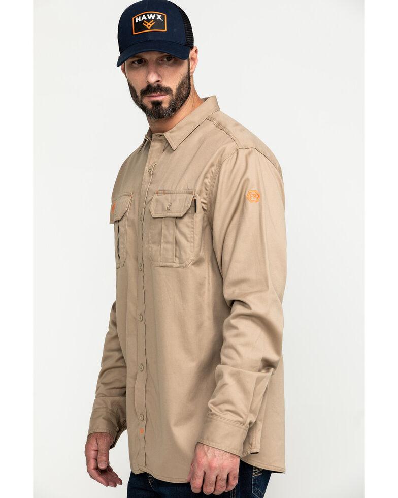 Hawx Men's Khaki FR Long Sleeve Woven Work Shirt - Big , Beige/khaki, hi-res