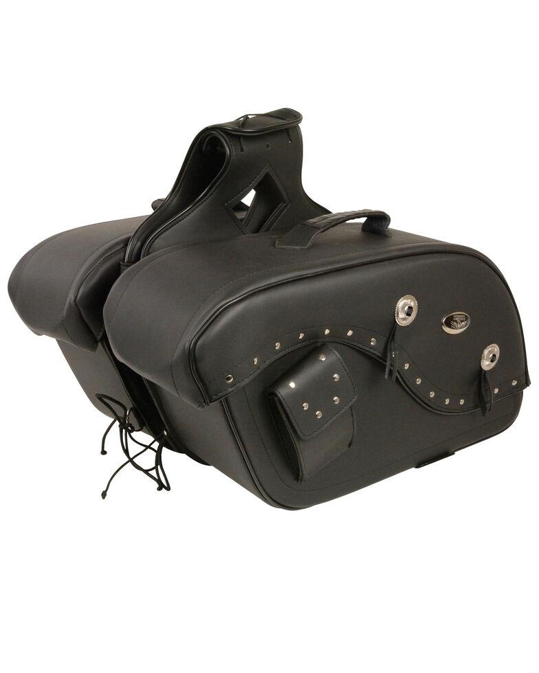 Milwaukee Leather Medium Cruiser Style Riveted Throw Over Saddle Bag, Black, hi-res