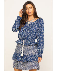 Wrangler Women's Navy Ditsy Floral Peasant Dress, Navy, hi-res