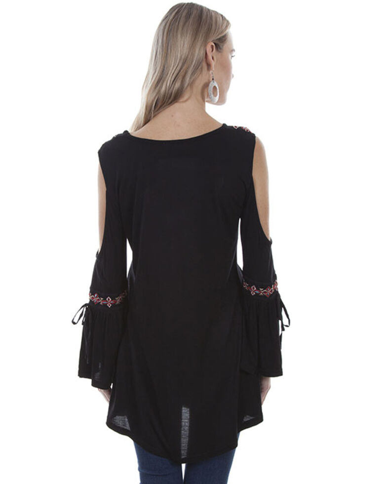 Honey Creek by Scully Women's Black Embroidered Cold Shoulder Top, Black, hi-res
