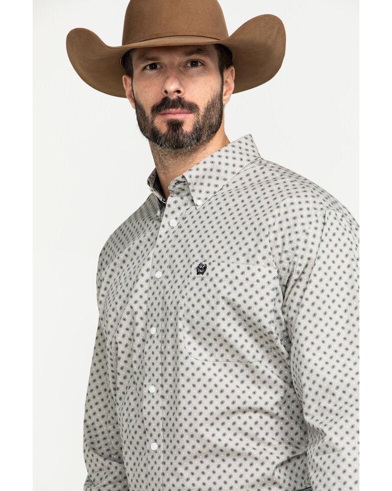 Cinch Men's Grey Small Paisley Print Long Sleeve Western Shirt , Grey, hi-res