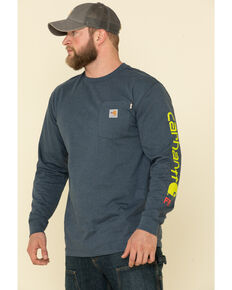 Carhartt Men's Dark Blue M-FR Midweight Signature Logo Long Sleeve Work Shirt, Navy, hi-res
