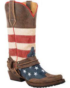 Roper Men's American Biker Harness Western Boots, Brown, hi-res