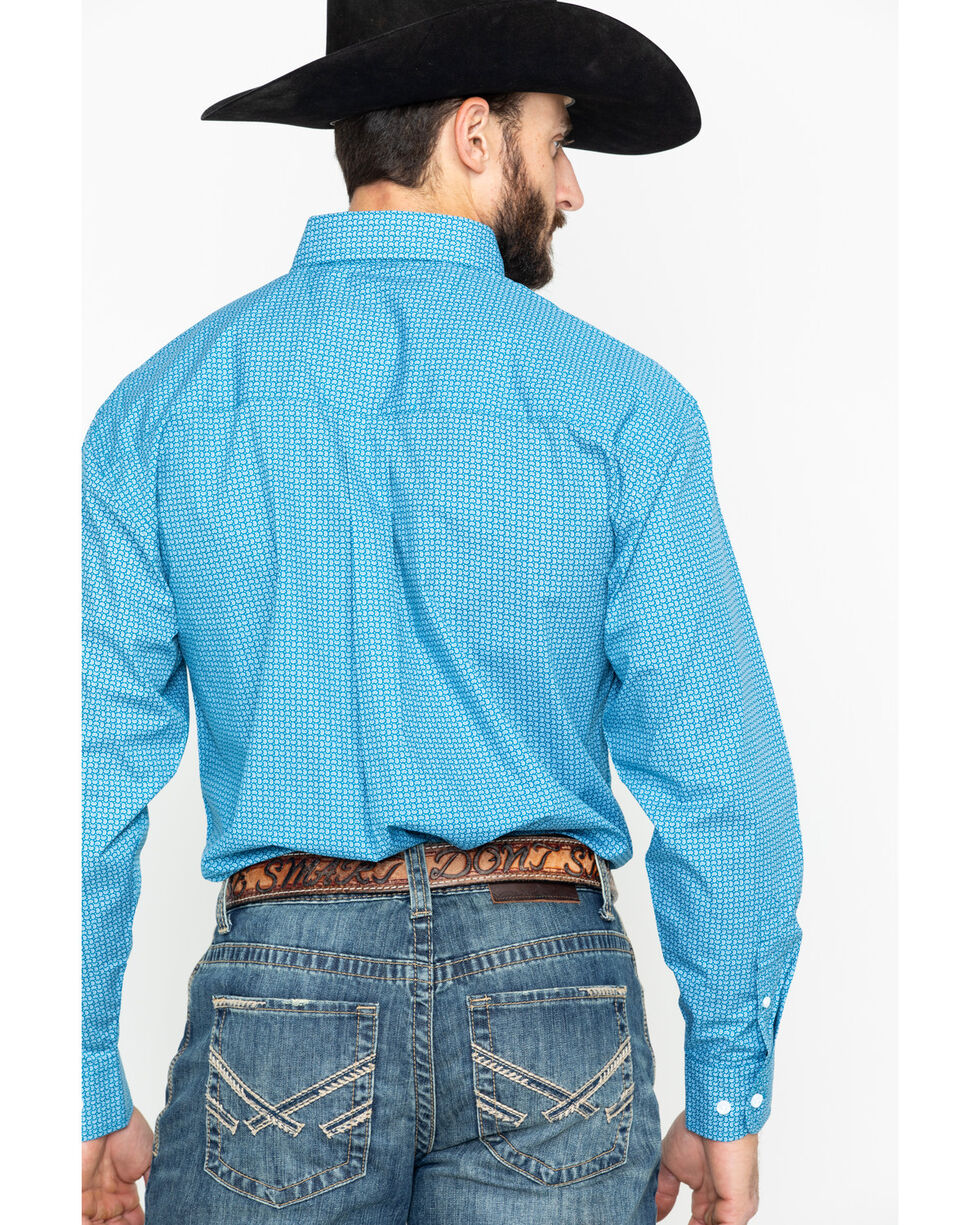 George Strait by Wrangler Men's Blue Paisley Print Long Sleeve Western Shirt, Blue, hi-res