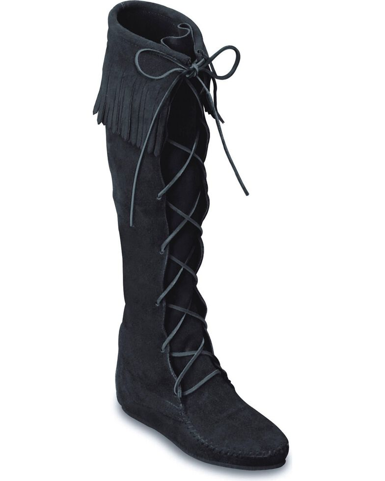 Minnetonka Front Laced Hard Sole Knee-High Fringe Boots, Black, hi-res