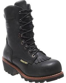 Wolverine Men's Buckeye Safety Toe Logger Boots, Black, hi-res