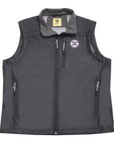 HOOey Men's Black Texture Grey Logo Vest , Black, hi-res