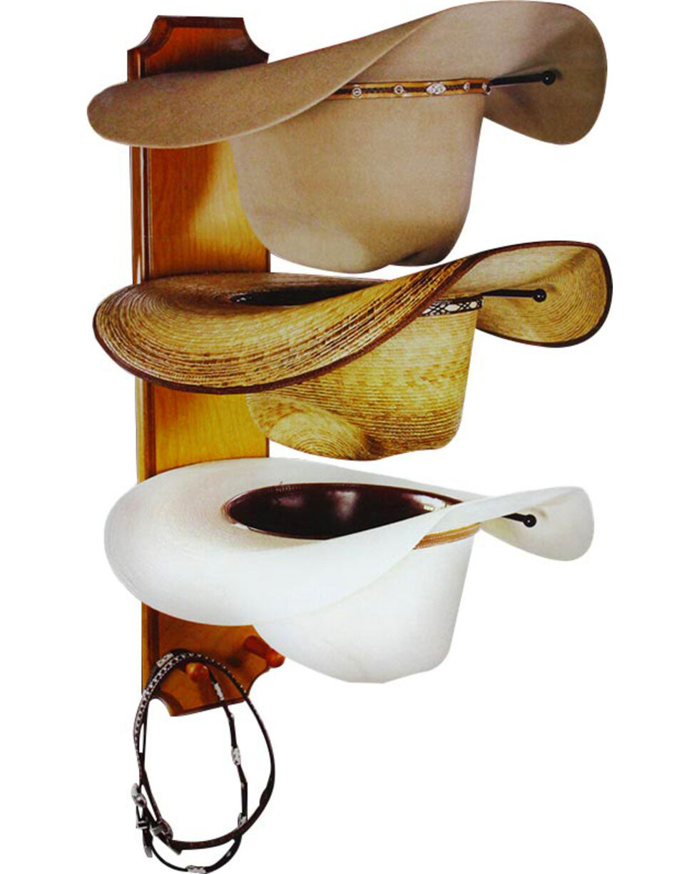 BB Ranch® Rolled Oak 3 Tiered Cowboy Hat Rack, Light Brown, hi-res