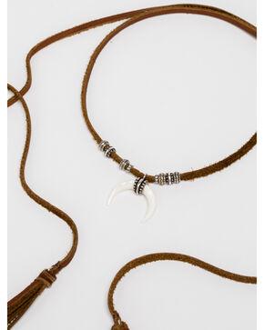 Idyllwind Women's White Crescent Tassel Wrap Necklace, Brown, hi-res