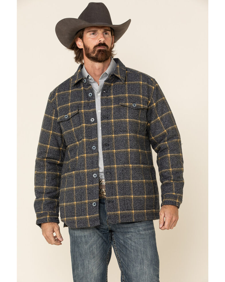 Moonshine Spirit Men's Burning Man Heavy Plaid Quilted Shacket, Heather Grey, hi-res