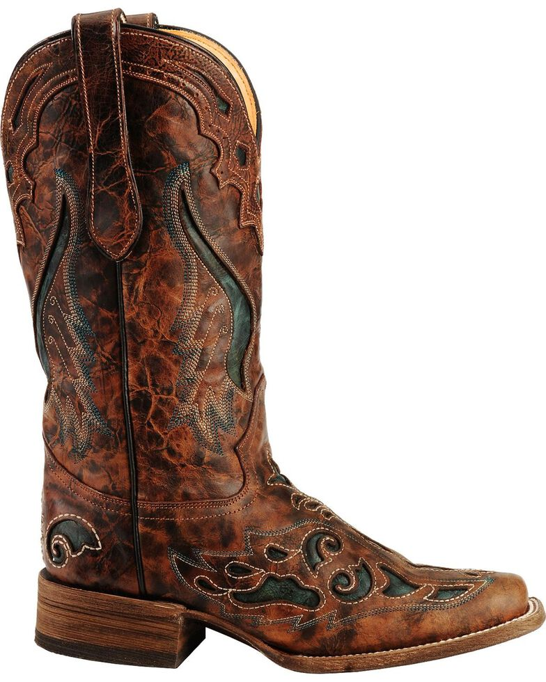 Corral Women's Square Toe Inlay Western Boots, Cognac, hi-res