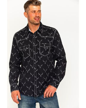 Rock & Roll Cowboy Men's Steer Print Shirt , Black, hi-res