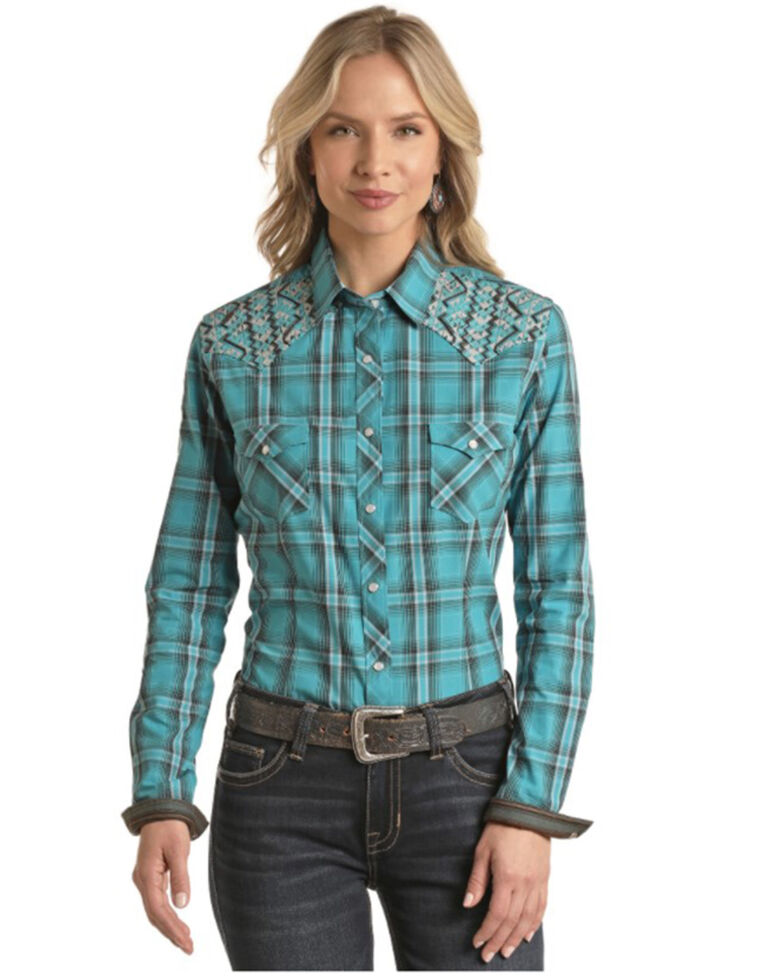 Panhandle Women's Turquoise Plaid Embroidered Long Sleeve Western Shirt , Turquoise, hi-res