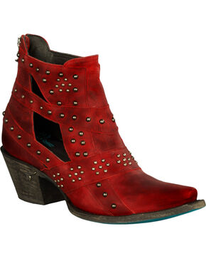 Lane Women's Studs & Straps Western Fashion Boots, Red, hi-res