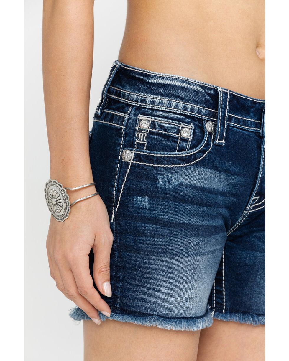 Miss Me Women's Floral Pocket Denim Shorts, Dark Blue, hi-res