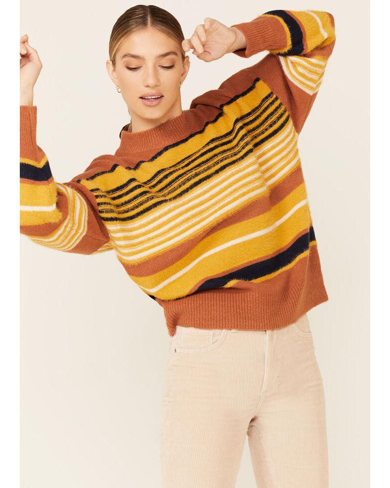 Very J Women's Striped Fuzzy Knit Sweater , Rust Copper, hi-res