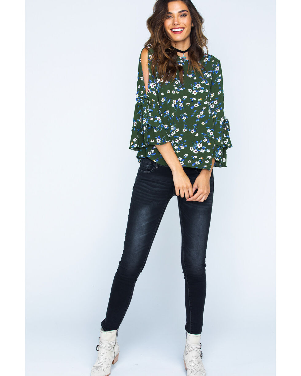 Ces Femme Women's Double Layer Sleeve Floral Top, Green, hi-res
