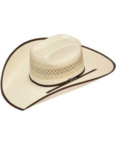 Twister 10X Shantung Brown Ribbon Bound Brim Straw Cowboy Hat, Tan, hi-res