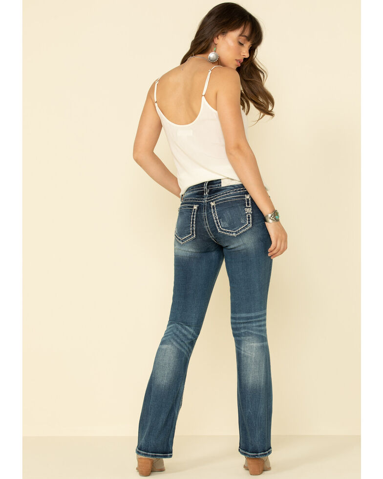 "Miss Me Women's Medium Basic Tonal Heavy Stitch 34"" Bootcut Jeans , Blue, hi-res"