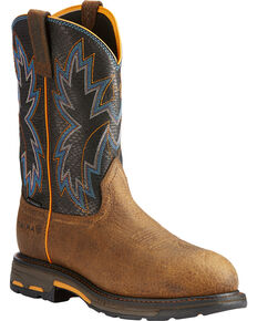 Ariat Men's Brown WorkHog Raptor Snake Print Boots - Composite Toe , Brown, hi-res