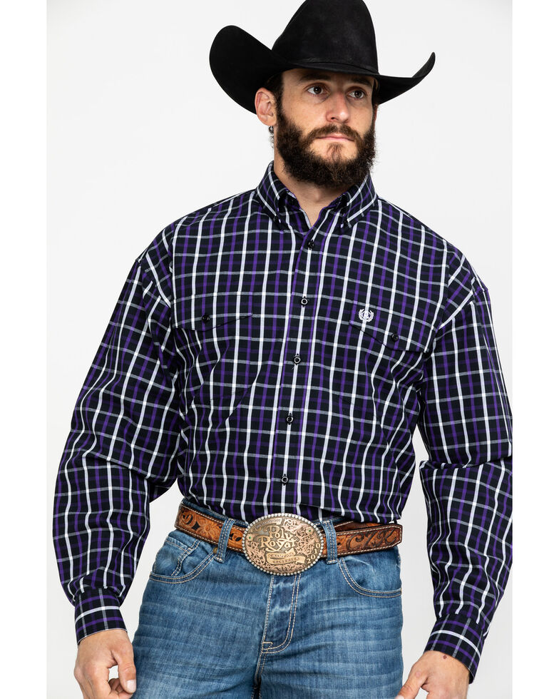 Panhandle Select Men's Poplin Check Plaid Long Sleeve Western Shirt , Purple, hi-res